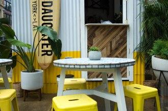 Bowery Market - pop up restaurant - Butcher's Daughter - outdoor tables